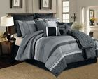 12 Pc. Black, Grey and White Striped Pattern Comforter Se...