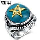 Top Quality Blue TTstyle 316L S.Steel Gold Pentacle/Inverted Pentagram Ring NEW
