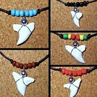 NEW TIGER SHARK TOOTH TEETH WHITE PENDANT BLACK CORD CHARM NECKLACE SURFER BOY