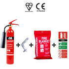 2KG CO2 (CARBON DIOXIDE/ELECTRICAL) FIRE EXTINGUISHER + BRACKET + BLANKET + SIGN