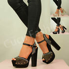 NEW WOMENS HIGH BLOCK HEEL PLATFORMS LADIES STUDDED PEEP TOE SHOES SIZE UK 3-8