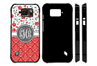 MONOGRAMMED CASE FOR SAMSUNG S4 S5 S6 S7 ACTIVE RED GRAY FLOWERS DAMASK