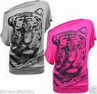 New Ladies Girls Stylish Glitter Tiger Printed Batwing T-Shirt Top
