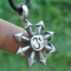 Om Aum Dharmic Hinduism Buddhism Moorcock 8 pointed chaos star pewter pendant