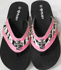 PINK BLACK ZEBRA CROSS RHINESTONE FLIP FLOPS SANDAL SHOES BY RUBY 7