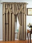 "Luxury PORTOFINO window curtain jacquard Panel 84"" L OR fringed valance"