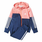 adidas Essential Hooded Polyester Junior Girls Tracksuit Set Pink/Navy Blue