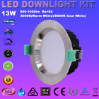 13W LED DOWNLIGHTS KIT DIMMABLE SATIN CHROME SAMSUNG LEDS WARM/ COOL WHITE IP44