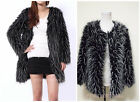 Chic Faux Fur Ostrich Feather Trend Long Hair Coat Jacket Parka Outwear S-XXL