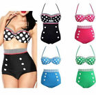 FD2122 Korea Women Girl High Waist Bikini Swimsuit Spa Swimwear 4 Colors S-XL♫