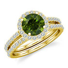 0.75 Carat Green Diamond Engagement Bridal Fancy Halo Ring Band 14K Yellow Gold