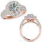 1.75 Carat G-H Diamond Beautiful Halo Design Promise Band Ring 14K Rose Gold