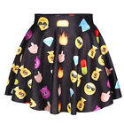 New Womens Graphic Print High Waist Pleated Short Mini Skirt Skater Flared Dress