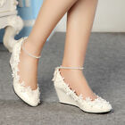 Fashion Lace white ivory crystal Wedding shoes Bridal flats low wedge high heels