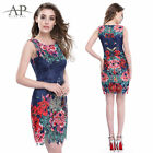 Women's Simple Fashion Floral Round Neck Short  Mini Casual Party Dress 05442