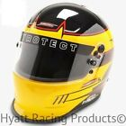 Pyrotect Pro Airflow Duckbill Auto Racing Helmet SA2015 - Yellow Rebel Graphic