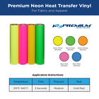 """IRON-ON Heat Transfer Vinyl For Fabric: 12"""" x 20"""" Sheets for ALL Neon Colors"""