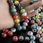 Wholesale Lots New Big Hole Ceramic Round Rondelle Spacer European Charms Beads