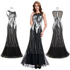 Womens Elegant Black Sequins Long Evening Cocktail Party Dress Mermaid Wedding