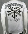 MONARCHY Men's v neck T Shirt NEVER again Embroidered Patches White