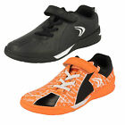 Boys Clarks Award Leap Inf & Jnr Black Or Orange Leather Velcro Sports Trainers