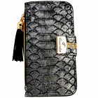 Womens SnakeSkin SILVER PU Leather Flip Wallet Case Card Holder iPhone 6 6S Plus