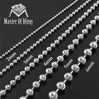 """Moon Cut Bead Chain Necklace 925 Sterling Silver 3mm 4mm 5mm 6mm White 16""""-40"""""""