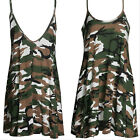 Summer Women's Sleeveless Military Camo Style Short Mini Cocktail Party Dresses