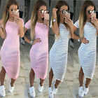 Women's Elegant Causal Striped Short Sleeve Party Slim Package Hip Dress