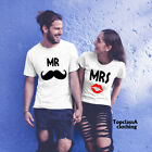 Mr Moustache Mrs Lipstick Movember Couple Wedding Matching T shirt
