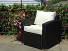 Patio Resin Outdoor Wicker Living Arm Chair with Cushion 3 Colors