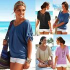 Fashion Lady Womens Summer Loose Tops Short Sleeve T Shirt Casual Blouse TXWD