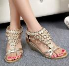 BOHO Style Bead BlingBling Women Mid wedge Open Toe Rhinestone Zipper Sandals SZ