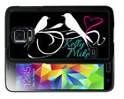PERSONALIZED RUBBER CASE FOR SAMSUNG NOTE 3 4 5 7 LOVE BIRDS BLACK WHITE