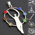 7 Crystal Glass Chakra Healing Point Reiki Yoga Goddess Angel Pendant Necklace