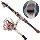 Telescopic Fishing Rod and Reel Combos Set Saltwater Fishing Tackle Rod Gear Kit