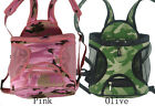 Camo pet dog front carrier bag, sturdy, front or back pack denim olive or pink