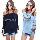 Sexy Womens Off Shoulder Cut Out Long Sleeve T-Shirt Tee Top Blouse Casual HOT