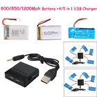 2/4/5X 3.7V 800/720/1200mAh Lipo Battery+Charger For Syma X5SW X5SC X5C RC Drone