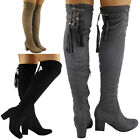 WOMENS LADIES THIGH HIGH OVER THE KNEE LONG LACE UP MID HEEL BOOTS SHOES SIZE