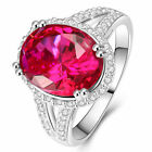 Fashion Woman's 5.5CT Ruby CZ 925 Silver Filled Ring Engagement Rings Size 6~10