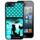 PERSONALIZED RUBBER CASE FOR iPHONE 5S 5C SE 6 6S 7 PLUS MERMAID BEACH BLUE