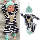 Newborn Baby Boy Girl Long Sleeve Tops Long Pants Hat 3PCS Outfits Set Clothes