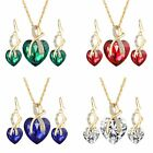 Women's Girl Gold Plated Crystal Hook Dangle Earrings Chain Necklace Jewelry Set