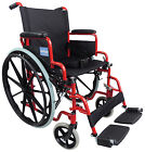 Aidapt Self Propelled Steel Transit Folding Wheelchair With Detachable Footrests