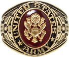 Gold Plated Deluxe 18k US Army Engraved Ring With Crystal Stone