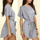 Half Sleeve Lace-up Beach  Casual Boho Dress Cloth cloethes Batwing Party Loose