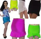 NEON DOLLY WIGGLE FRILL PENCIL MINI MICRO SKIRT 80'S FANCY DRESS TUTU