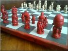 Alice in Wonderland Chess Set with Contrasting Sides and Two Extra Queens