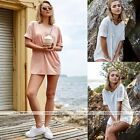 Summer Loose Long T-shirt Short Sleeve Casual Top Blouse Beach White/Carnation